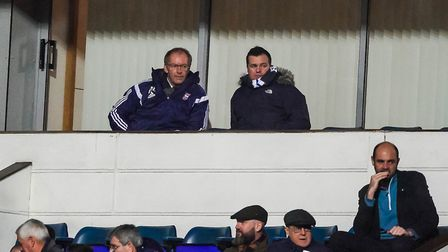 Town owner Marcus Evans watches on with Lee ONeill, general manager of football operations.Pictu