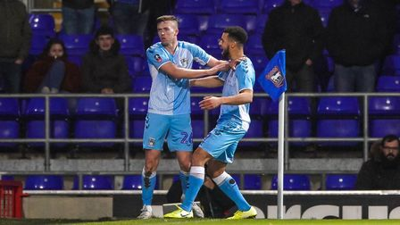 Jordan Shipley celebrates with teammate Max Biamou after giving the visitors the lead.Picture: Stev