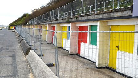 The beach huts in Jubilee Parade, Lowestoft, closed in 2016 over safety issues. Pictures: MICK HOWES