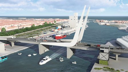 The proposed design for the Lake Lothing Third Crossing, pictured with the bridge down. Picture: WSP