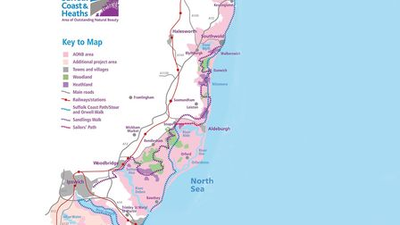 A map of the Suffolk Coast & Heaths Area of Outstanding Natural Beauty Picture: AONB