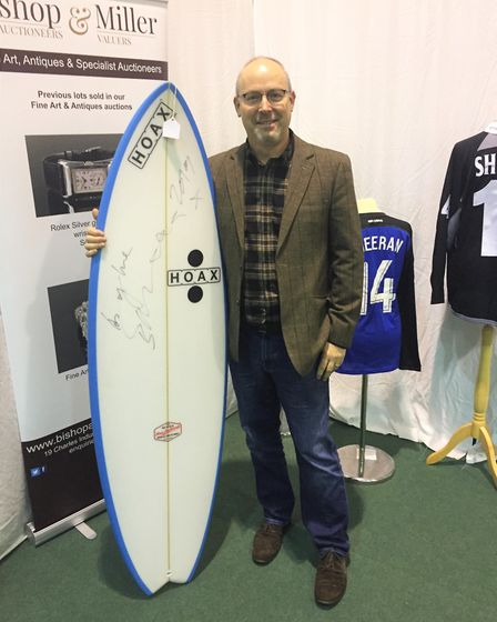 Andy took home a signed surfboard from HOAX, one of Ed's favourite brands, for £460 at the auction
