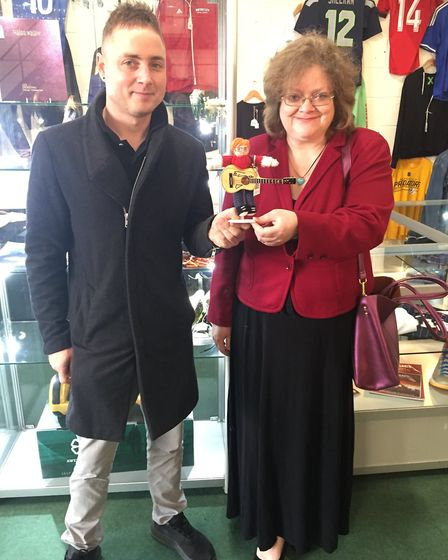 Rob took home a knitted Ed and his guitar for �1,300 at the auction which raised �30,000 for the Zes