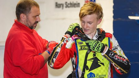 Father Jason with Drew Kemp ahead of an Ipswich Witches speedway clash. Picture: STEVE WALLER