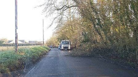 The A140 at Little Stonham is closed in both directions due to a three-vehicle collision - large veh