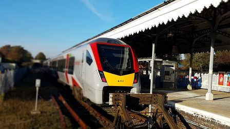 A new Stadler train at Felixstowe station - but at present they are being replaced by buses. Picture