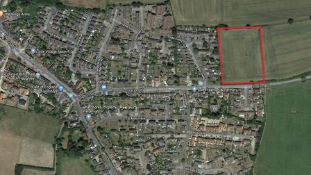 The plot in Haughley where 29 homes are set to be built. Picture: GOOGLE MAPS