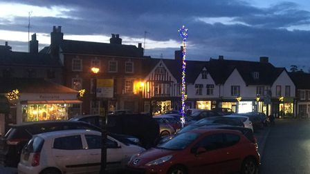 The tree-less Christmas lights display at Framlingham Market Hill Picture: ANDREW HIRST