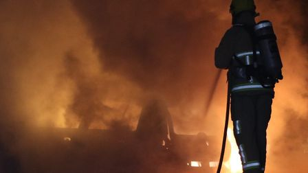 Suffolk Fire and Rescue were called after two cars caught fire Picture: KJ SPEAR