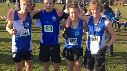 Successful quartet: Suffolk's junior boys' team, pictured here after winning the Angian Schools crow