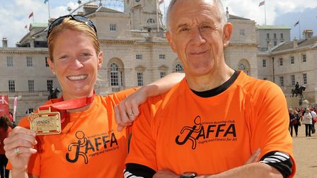 Blast from the past: Helen Davies links up with her coach Clive Sparkes after the 2012 London Marath