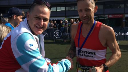 Danny Rock, right, who ran for the Combined Services at the Telford 10K last weekend, shakes hands w
