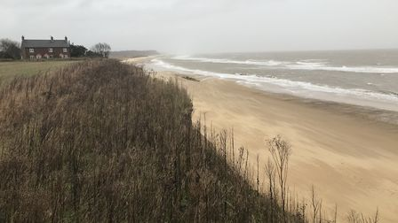 The coastline at Easton Bavents near Southwold has seen several metres of erosion in recent months.