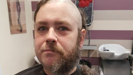 Paul Thompson's headshave for Macmillan Cancer Support Picture: CAREN THOMPSON