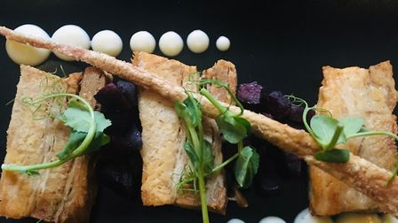 Crispy pork belly with apple and beetroot at The Ram, Hadleigh Picture: Charlotte Smith-Jarvis