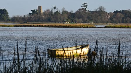 The River Alde, with views of Iken church in the background. Julian Tennyson said he wanted to be