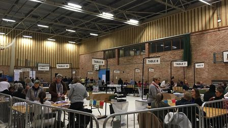 Counting the ballot papers at the West Suffolk count Picture: MARIAM GHAEMI