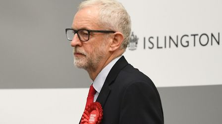 Labour leader Jeremy Corbyn waits for the result to be given at Sobell Leisure Centre for the Islin