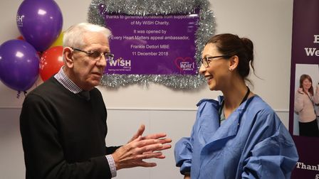 Dr Pegah Salahshouri (right) fitted a pacemaker for Michael Brown, 81, from Hundon, on Christmas Eve