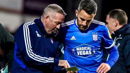 Town manager Paul Lambert giving skipper Cole Skuse instructions during a break in play.Picture: St