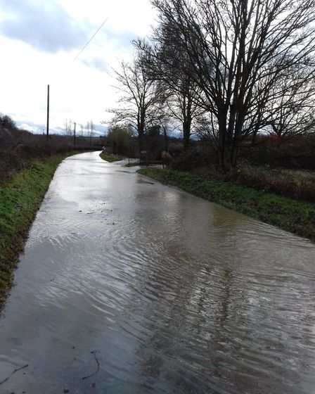 The roads around Offton are completely flooded Picture: LINDSEY HOWLETT