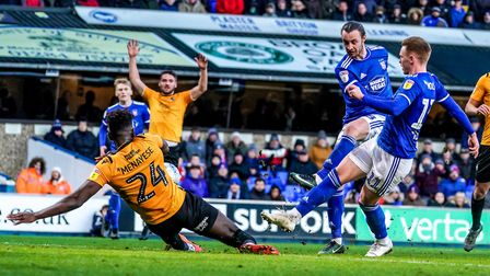 Will Keane had this shot blocked by Rollin Menayese against Rovers last Saturday. Picture: Steve