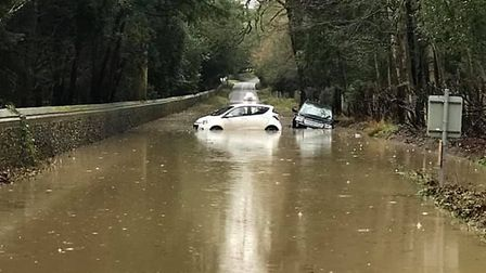 Flooding at Nowton Road, next to Nowton Park, in Bury St Edmunds, taken by Abigail Doherty
