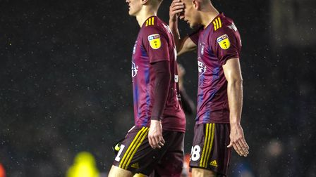 Flynn Downes and Luke Woolfenden leave the pitch after the game.Picture: Steve Waller www.step
