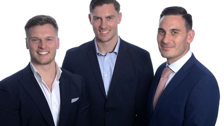 From left, Suffolk brothers Daniel, Harry and Kane Hughes, who founded Dangler, an online marketplac