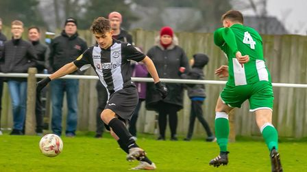 Harvey Sayer, on loan from Colchester United, in action against Whitton United on Saturday. Picture:
