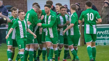 Whitton United players celebrate their opening goal, scored by Kyle Ferguson. Picture: PAUL VOLLER
