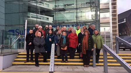 Staff and volunteers from Suffolk branches of Citizens Advice outside Endeavour House, Ipswich, ahea