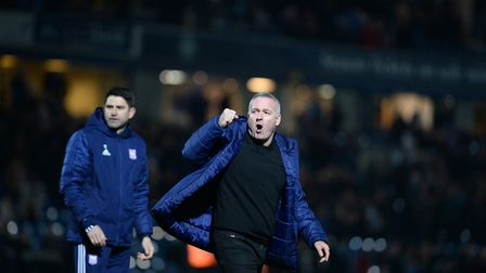Ipswich Town manager Paul Lambert is fired up after the 1-1 draw at League One leaders Wycombe. Phot