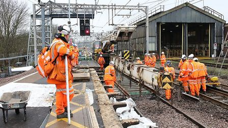 Network Rail replaced lengths of track at Colchester station over the Christmas and New Year period.