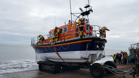 Lifeboat crew launching from Aldeburgh Picture: CARON HILL/RNLI