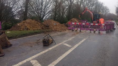 Anglian Water is carrying out emergency work on the road Picture: STOKE BY NAYLAND FACEBOOK GROUP
