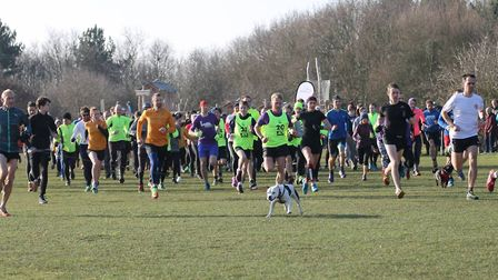 The start of the Mersea Island parkrun, at Cudmore Grove, East Mersea, at the time of the 'Beast fro