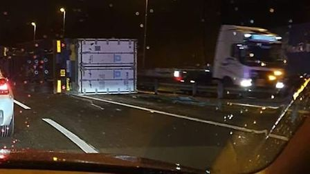 A lorry tipped over on the A14 in Felixstowe. Picture: NATHAN SMITH