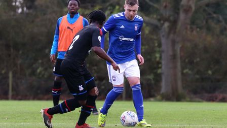Freddie Sears on the ball for Town U23s during their 2-1 win over Crystal Palace at Playford Road Ph
