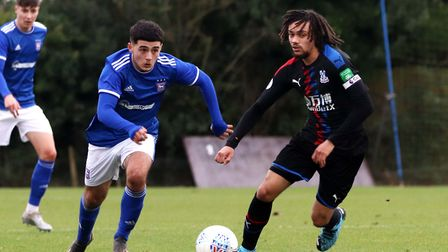 Armando Dobra in action for Town U23s during their 2-1 win over Crystal Palace at Playford Road Phot