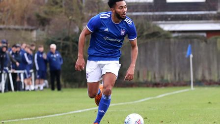 Grant Ward in action for Town U23s during their 2-1 win over Crystal Palace at Playford Road Photo: