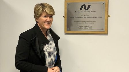 Clare Balding unveils the plaque to open the new library at Newmarket Academy Picture: GOODERHAM PR