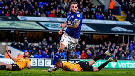 James Norwood wheels away after pulling a goal back for Town in their 2-1 defeat by Bristol Rovers.