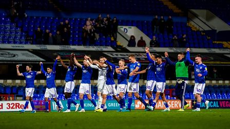 Ipswich Town players celebrate after their 4-0 victory against Gillingham in the EFL Trophy. Photo: