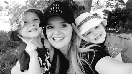 Tina Newman and her children all eat vegan dinners. Picture: TINA NEWMAN