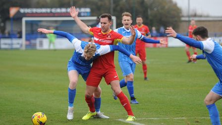 Leiston and Needham Market battle at Victory Road Photo: BEN POOLEY