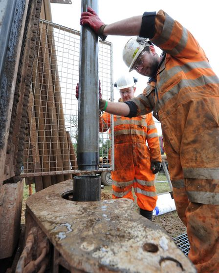 Borehole drilling as part of site investigations for Sizewell C Picture: EDF ENERGY
