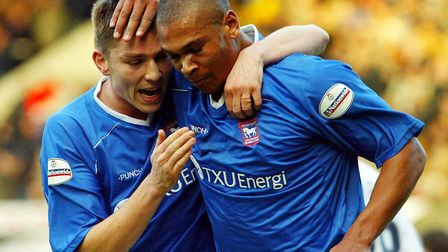 Marcus Bent, right, is congratulated by his skipper Matt Holland after scoring for Ipswich Town agai