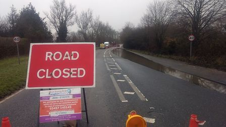 The A134 is fully closed from Plough Lane to near St Matthew's Church due to a burst water main. Pic
