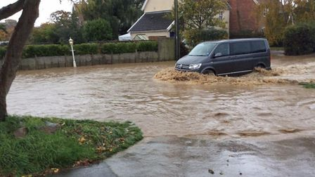 Roads across the region, like this one in Aldeburgh, have been affected by flooding after heavy rain